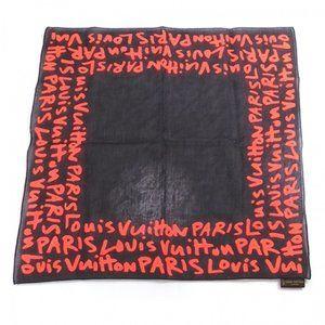 LOUIS VUITTON Sprouse Graffiti Cotton Black Scarf
